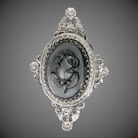 Large Carved Hematite Rose Silver Plated Brooch