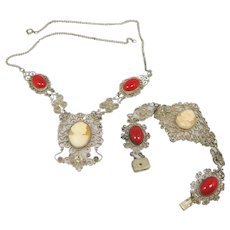 1930's Filigree Carved Shell Cameo and Coral Glass Necklace & Bracelet