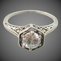 Art Deco 10k White Gold Filigree Engagement Ring 1920's Era