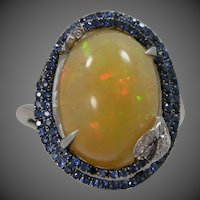 14k White Gold Opal, Diamonds & Sapphire Ring with Serpent Motif Wedding | Engagement