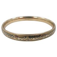 Art Nouveau Taille d'epargne Gold Filled Signed Martin Hall Co. Bangle Bracelet