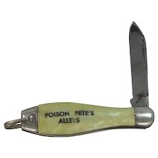 1930's Celluloid Bowling Pin Folding Knife from Poison Pete's Bowling Alleys