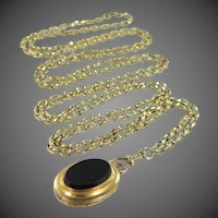 Victorian 10k Gold Muff Chain with Hairwork Mourning Locket