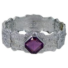 1920's Art Deco Rhodium Plated Amethyst Glass Filigree Bangle Bracelet
