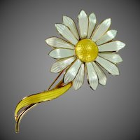 Aksel Holmsen Large Sterling Vermeil Enamel Daisy Pin Norway