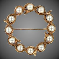 14k Gold Cultured Pearls Pin
