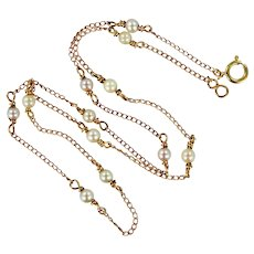 14k Gold Cultured Pearls Necklace