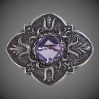 Antique Sterling Silver & Genuine Amethyst Pin
