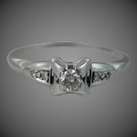 1930's Platinum & Diamond Solitaire Lady's Size 8 1/2 Ring