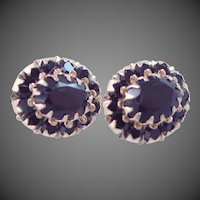 14k Gold Garnet Glass Stud Earrings