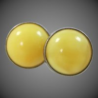 Egg Yolk Amber Sterling Silver Stud Earrings
