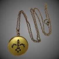 Victorian Gold Filled Fleur deLis Locket & Chain