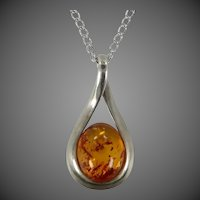 Genuine Baltic Amber Sterling Silver Necklace