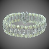 Ciner Rhinestones & Faux Pearls Wedding Bracelet