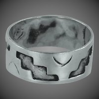 Wide Mexico Sterling Silver Cigar Band Ring Size 7
