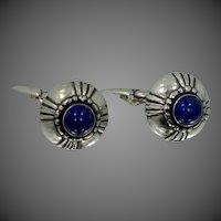 Georg Jensen Mid Century Sterling Silver & Lapis Lazuli Cuff Links Cufflinks