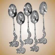 5 Antique 900 Sterling Silver Spoons with Dragons on Handles
