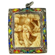 Chinese Export Sterling & Enamel Carved Pendant