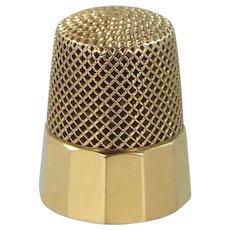 14k Solid Gold kMd Ketcham & McDougall Paneled Thimble Size 9