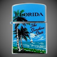 Florida The Sunshine State Blue Enamel Cigarette Lighter Mint in Box Never Used