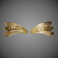 14k Gold Diamond Cut Pierced Earrings