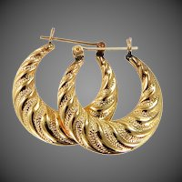 14k Gold Shrimp Style Hoop Earrings