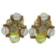 Vendome Yellow A/B & White Frosted Glass Clip on Earrings