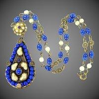 1920's Czechoslovakia Brass & Lapis Glass Faux Pearls Necklace
