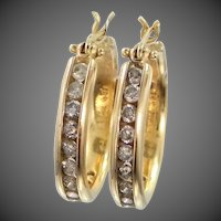 Heavy 14k Gold Diamond Hoop Earrings