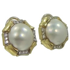 18k Gold Mabe Pearl & Diamond Leverback Earrings