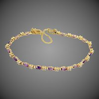 18k Gold Natural Amethysts Bracelet