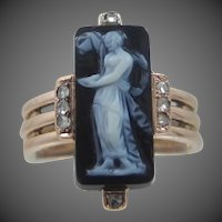 Victorian 14k Rose Gold Hardstone Cameo & Rose Cut Diamonds Ring