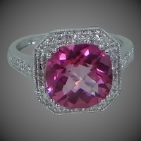 10k White Gold  Diamonds & Pink Topaz Lady's Size 6 1/4 Halo Ring Wedding | Engagement