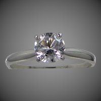 10k White Gold Clear Spinel Solitaire Faux Diamond Ring