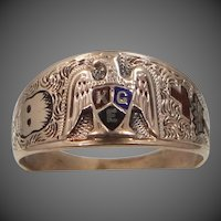Victorian 10k Solid Gold Knights of the Golden Eagle Fraternal Ring