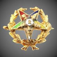 10k Enamel Eastern Star Masonic Pin
