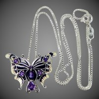 Sterling Silver & Genuine Amethysts Enamel Butterfly Necklace