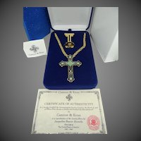 Camrose & Kross Jackie Kennedy Enamel Cross Necklace / Brooch with Stand  MIB with CAO
