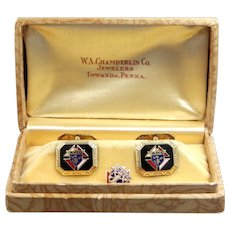 Early 1900's 10k Gold & Enamel Knights of Columbus Cuff Links with Original Box