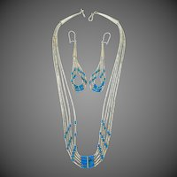 5 Strand Liquid Silver & Turquoise Southwestern Necklace and Matching Earrings
