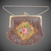 Victorian Petit Point Bronze Seed Bead Purse
