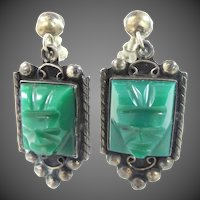 1940's Mexico Silver and Green Agate Aztec Stone Screw Back Earrings