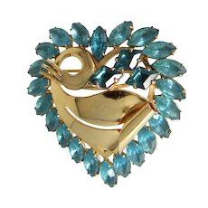 Retro Gold Tone Blue Rhinestones Heart Brooch