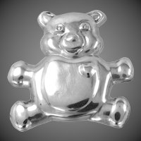 Sterling Silver Puffy Bear with Heart Brooch / Pendant
