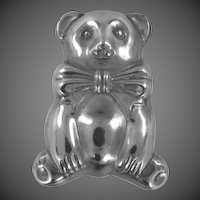 Sterling Silver Puffy Bear with Bow Brooch / Pendant