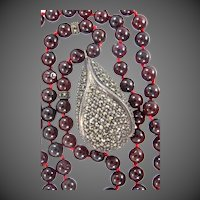 Beautiful Genuine Garnets Necklace With Sterling & Marcasite Pendant