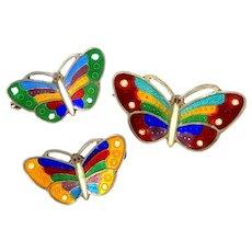 3 Artist Signed Sterling Silver Enamel Butterfly Pins