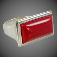 RLM Studios Robert Lee Morris Sterling Silver & Coral Abstract Ring