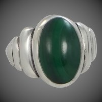 1940's Sterling Silver & Malachite Southwestern Style Ring