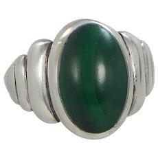 1940's Sterling Silver & Malachite Southwestern Style Ring